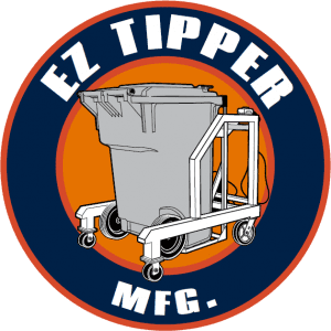 EZ Tippers MFG. Logo. Round red circle with black line inside circle. EZ Tipper Mfg. Text in white. Red center with a image of a cart tipper with a grey bin