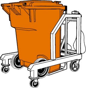 Image of a red cart tipper not upside down